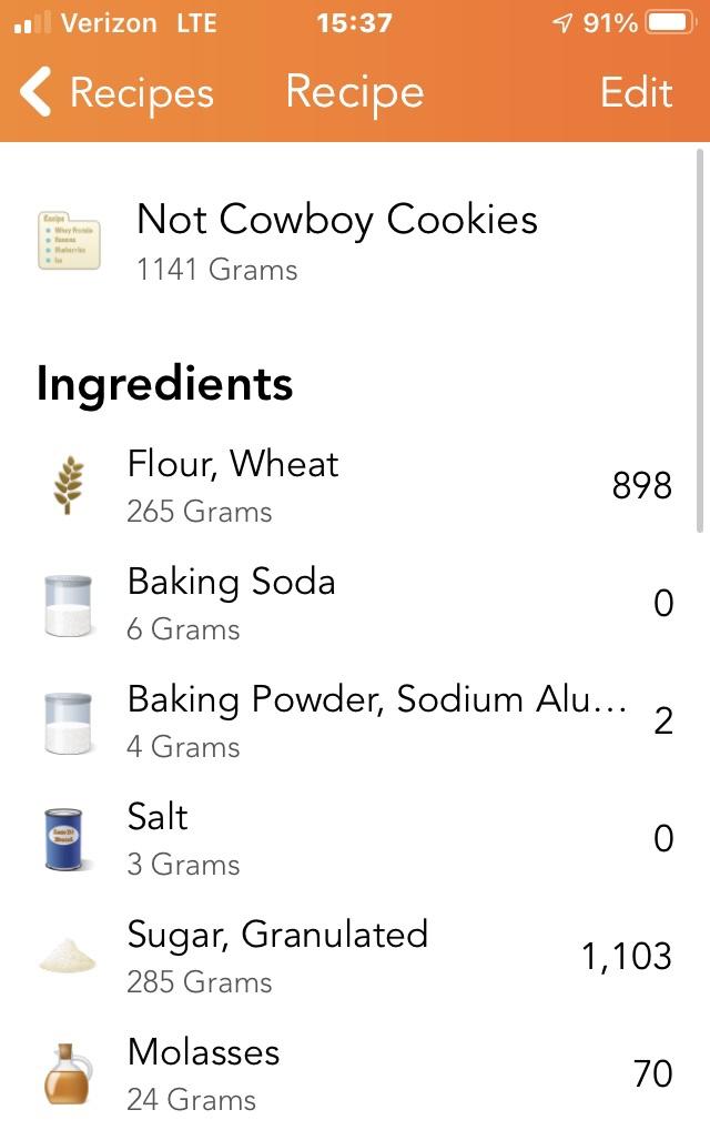 A screenshot of a food tracker app, which says the following: Not Cowboy Cookies (1141g) 265g whole wheat flour 6g baking soda 4g baking powder 3g salt 74g butter 285g sugar 24g molasses